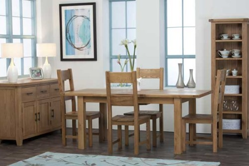 Rustic Oak: 5ft Rectangular Extending Dining Table with Timber Chair