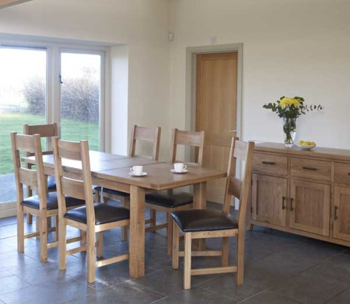 Rustic Oak: 6ft Rectangular Extending Dining Table with Timber Chair