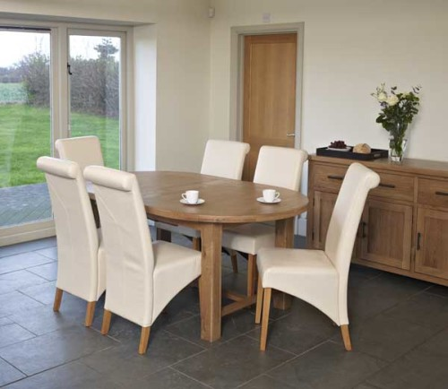 rustic oak 6ft oval extending dining table with pu chair cosi interiors ltd. Black Bedroom Furniture Sets. Home Design Ideas
