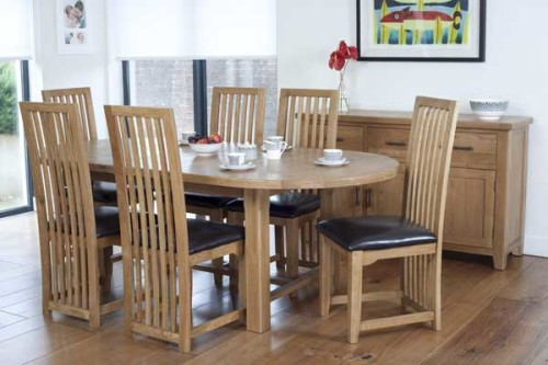 Rustic Oak: 6ft Oval Extending Dining Table with 6 Timber Chairs