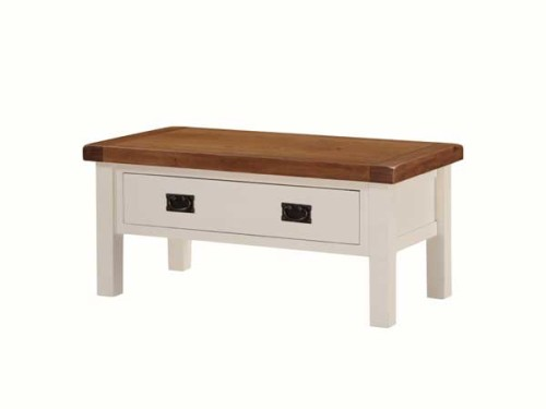 Country: Stone & Oak. Coffee Table with Drawer, Small