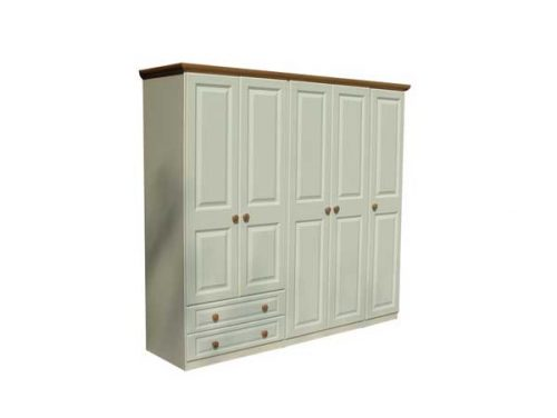 Claddagh: 5 Door 2 Drawer Robe. Ivory & Oak