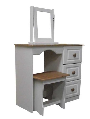 Claddagh: Dressing Table, 3 Drawer. Ivory / Oak