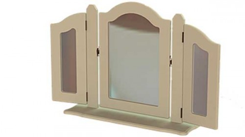 Claddagh: Triple Dressing Mirror. (Ornate) Ivory