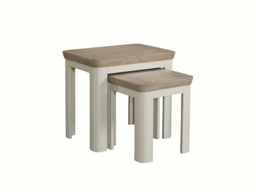 Rich Oak: Painted Nest Of Tables.