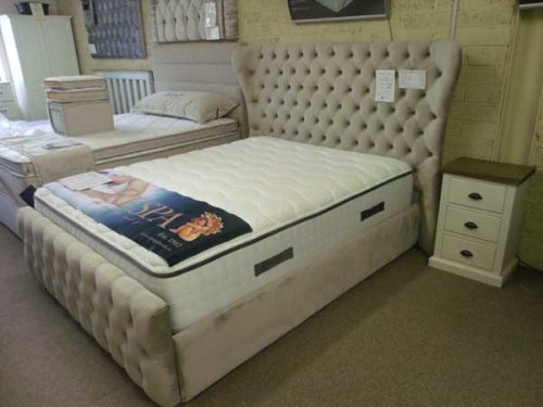 Princess: King Bed Frame, Fabric.
