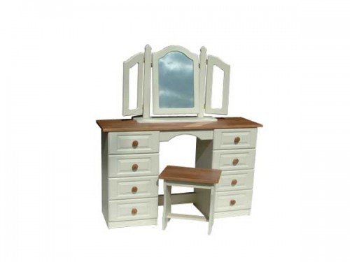 Claddagh: Dressing Table, 6 Drawer. Ivory / Oak