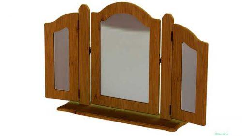 Claddagh: Triple Dressing Mirror (Ornate) / Oak